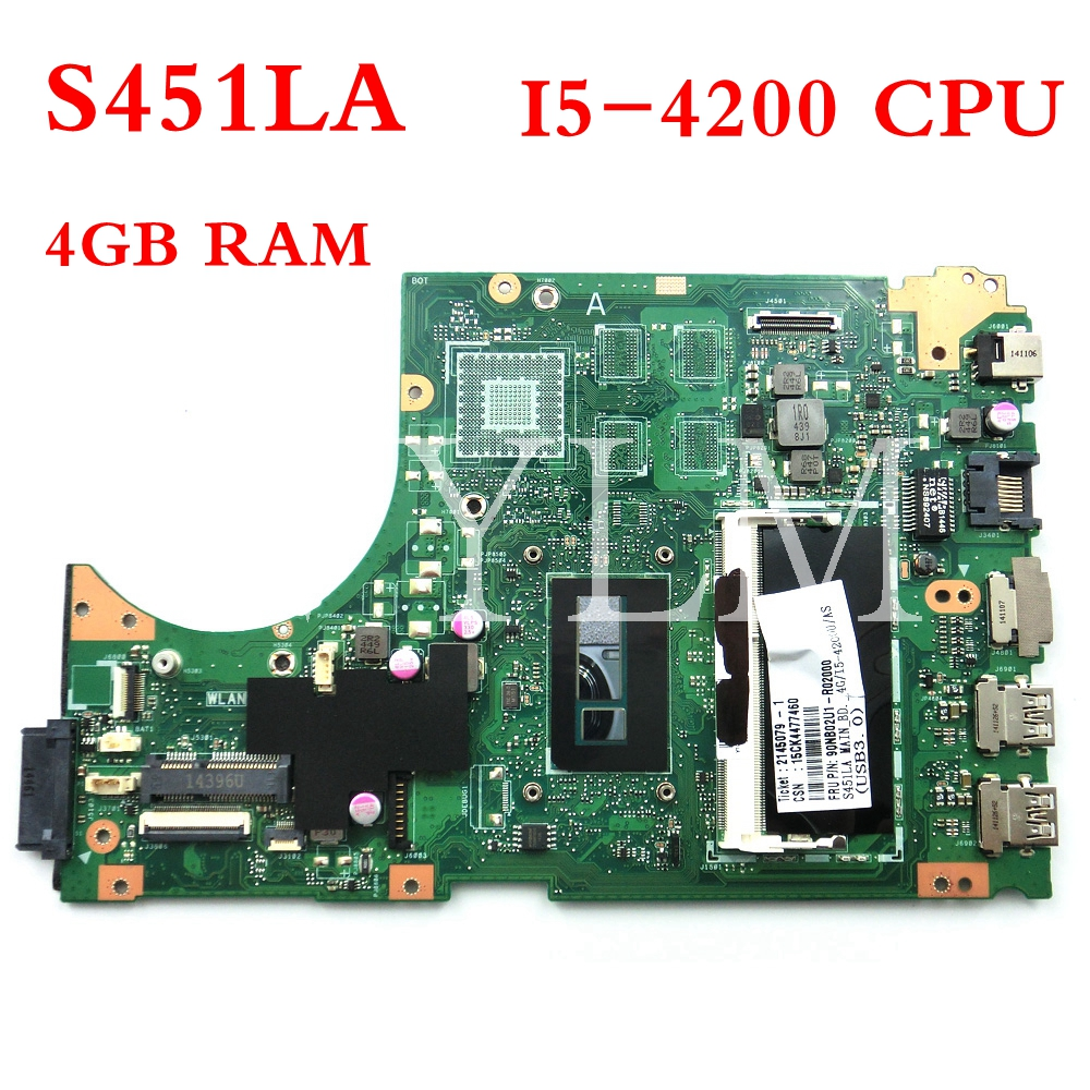 Laptop Motherboard Computer & Office S451la I5-4200 Cpu 4gb Ram Mainboard Rev2.0 For Asus S451la S451 S451ln S451ld Laptop Motherboard 90nb02u1-r02000 100%tested Available In Various Designs And Specifications For Your Selection