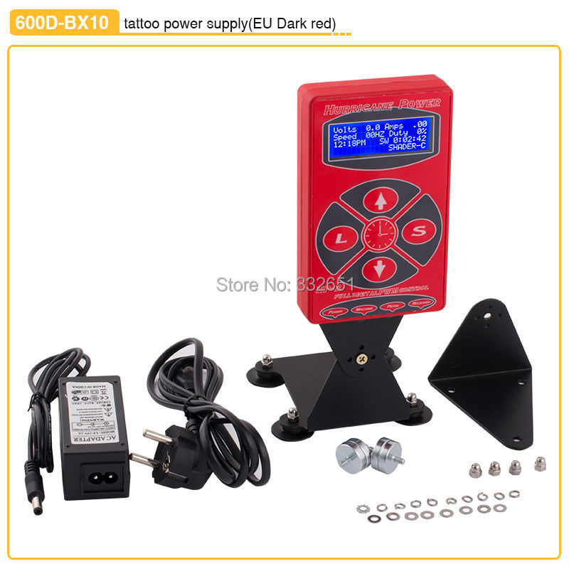 CHUSE 600D-BX10 Red Tattoo Power Supply Black Steel Dual Digital LCD Tattoo Machine Power Supply Tatoo Body Art Supply Free Ship black red yellow blue skull design stainless steel tattoo foot pedal switch footswitch power supply