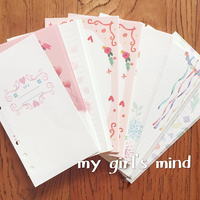 100 Sheet Kawaii Notebook Papers A5 A6 Diary Color Inner Core Planner Filler Paper Girl Series