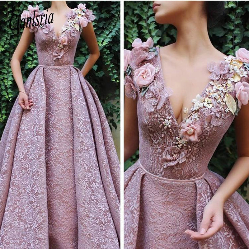 V-Neck Lace Cap A-Line   Prom     Dresses   Floor Length 2019 Custom Long Women Evening Party Gowns Special Occasion Party Wear 2K19