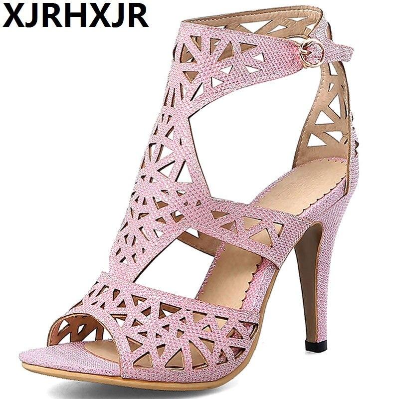 XJRHXJR femmes strass dos Zip sandales à talons hauts marque Designer bout ouvert été soirée mariée chaussures Sexy talons fins Bigsize