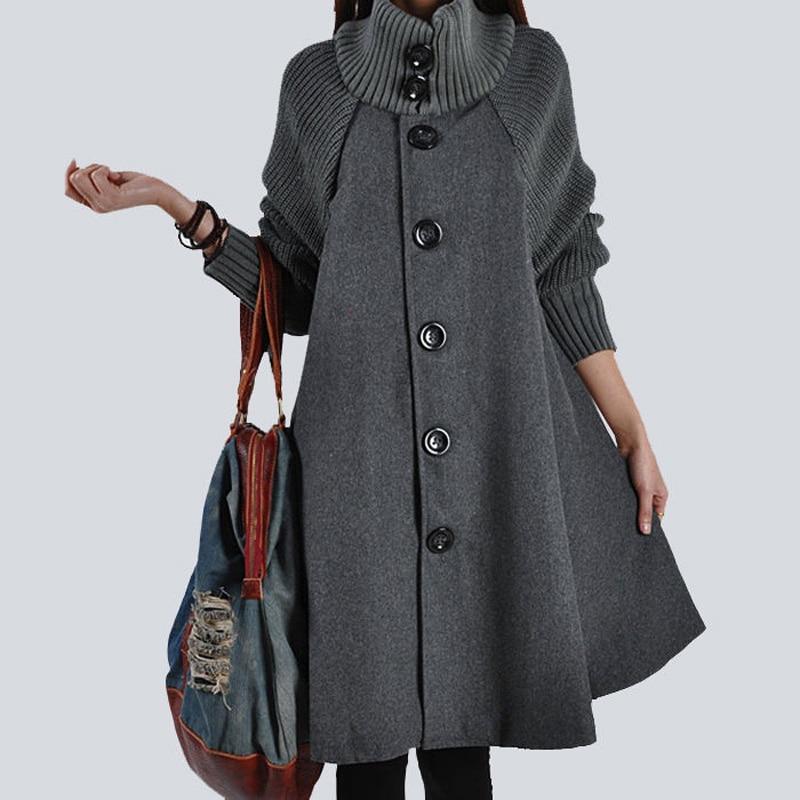 Women Autumn Winter Coat New Vintage Warm Turtleneck Wool Blend Trench Coat Loose Long Cloak Cape
