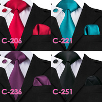 Solid Silk Mens Ties Neck Tie Set for Men Suits Tie Handkerchief Cufflinks Gravatas Ties for Men Wedding Vestidos Corbatas 1
