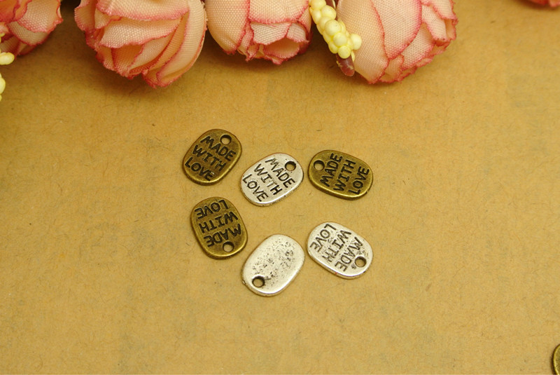 20pcs Vintage Antique Bronze Silver Zinc Alloy made with love Charms Pendant Fit Handmade Jewelry DIY 11*8MMM