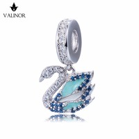 Video! 100% 925 Sterling Silver Jewelry Blue Swan Fit Original European Charms Bracelet Necklace Drops Charm Gift for Women