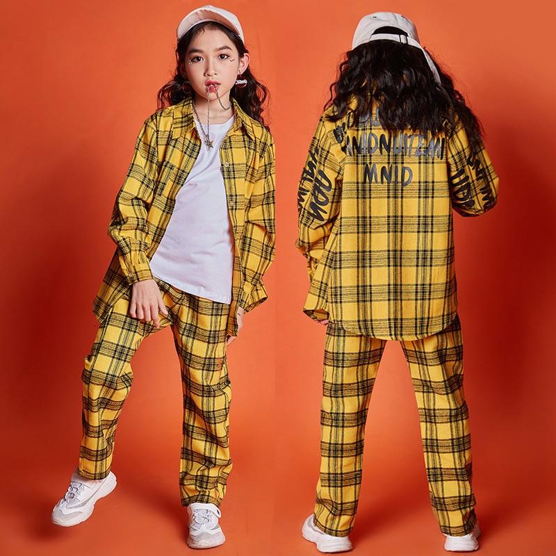 Children 39 s Hip hop Jazz Dance Street Dance Performance Costume Boys Girls Hiphop Loose Long Sleeve Yellow Plaid Shirts Trousers