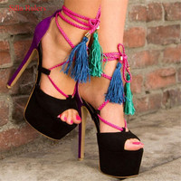 Black Purple Patch Suede Platform Women Sandals Mixed Color Fringe High Heels Gladiator Sandals Women Pumps Shoes Woman Sandalia