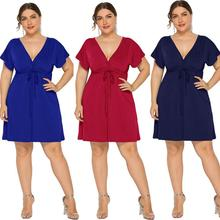 Plus Size 2019 Summer Lace-up Dress Empire Waist Sexy V Cut Short Sleeves Holiday Beach Cocktail Party Dress eDressU LMT-FP3316