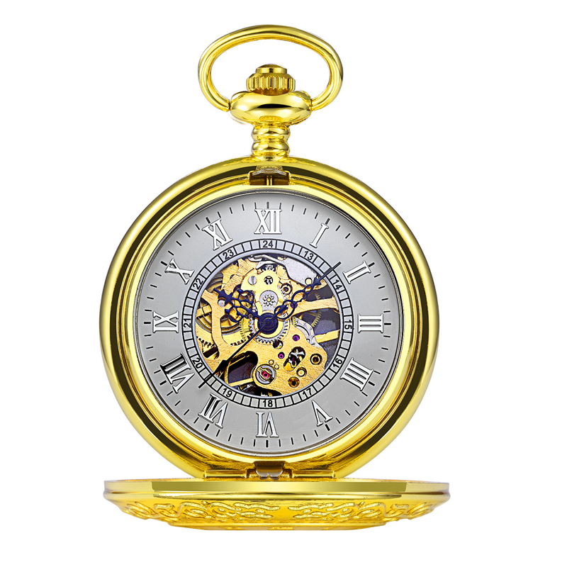 Gold Mechanical Pocket Watch Men Women Classic Roman Numerals Carved Watch Clock Pendant Hand-winding Chain Gift