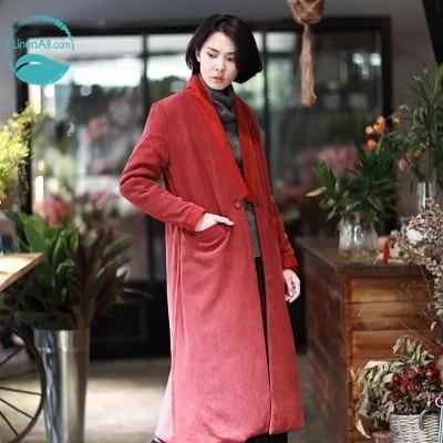 купить LinenAll women's red/black/blue winter heavy crepe de chine buttercup 100% silk long cotton overcoat outerwear female JX по цене 34930.8 рублей