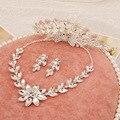 Aretes collar de cristal de sistemas de la joyería de accesorios para el cabello de alta calidad Phoenix tres piezas de la corona collares joyería de la boda