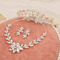 high-grade crystal necklace earrings hair accessories jewelry sets  Phoenix three-piece crown necklaces wedding jewellery
