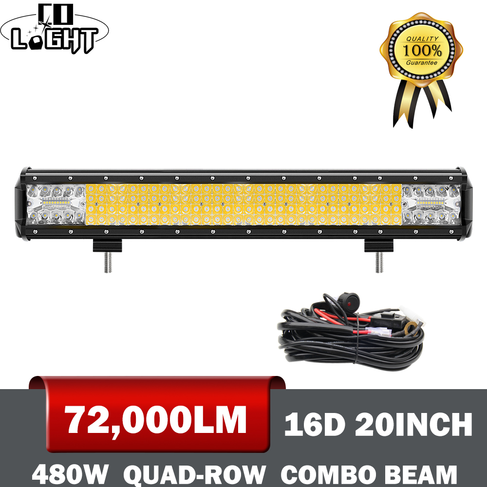 CO LIGHT 16D 20 Inch LED Work Light Bar 4-Rows 480W Offroad Combo Led Beams for 4WD 4x4 Truck ATV 12V 24V