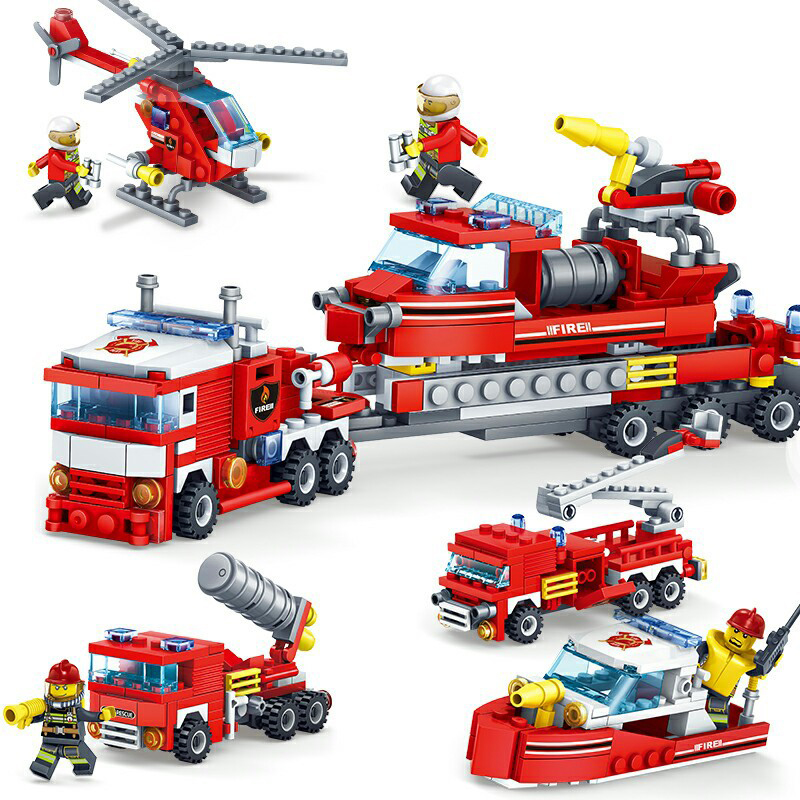 KAZI-80512-City-Fire-Fighting-Car-Helicopter-Boat-Building-Blocks-LegoINGlys-Fire-Fighter-Bricks-Lepin-Technic -