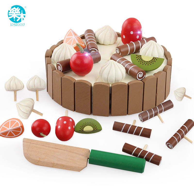 Wooden baby Kitchen Toys pretend play cutting cake Play Food Kids toys Wooden fruit cooking Toy