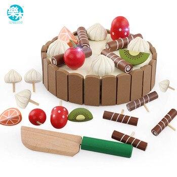 Bebê de madeira Brinquedos de Cozinha pretend play corte do bolo de Comidinhas Crianças brinquedos De Madeira de frutas cozinha de Brinquedo