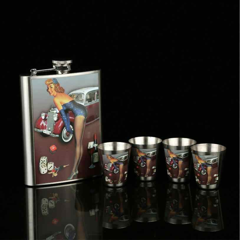 クリエイティブステンレス鋼ヒップフラスコフラスコ用酒ギフトセット内容4ショットカップ&漏斗