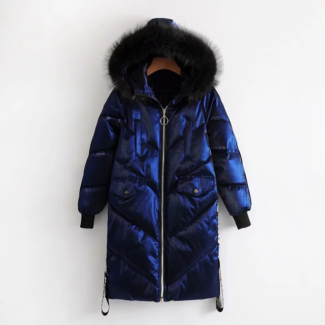 0acffd9c1 US $84.89 |Long Down Cotton Puffer Jacket Women Winter Hooded Fur Fashion  Parka Quilted Coat Loose Warm Zipper Outwear-in Parkas from Women's  Clothing ...