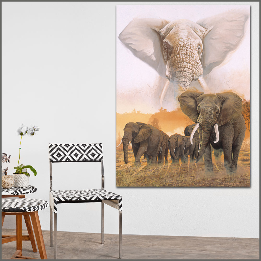 large size Printing Elephant Family Canvas Print Wall art ...