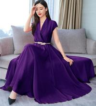 High Quality Plus Size S-3XL Summer New Arrival Graceful Turn-down Collar Short Sleeve Solid Color Chiffon Long Dress With Belt