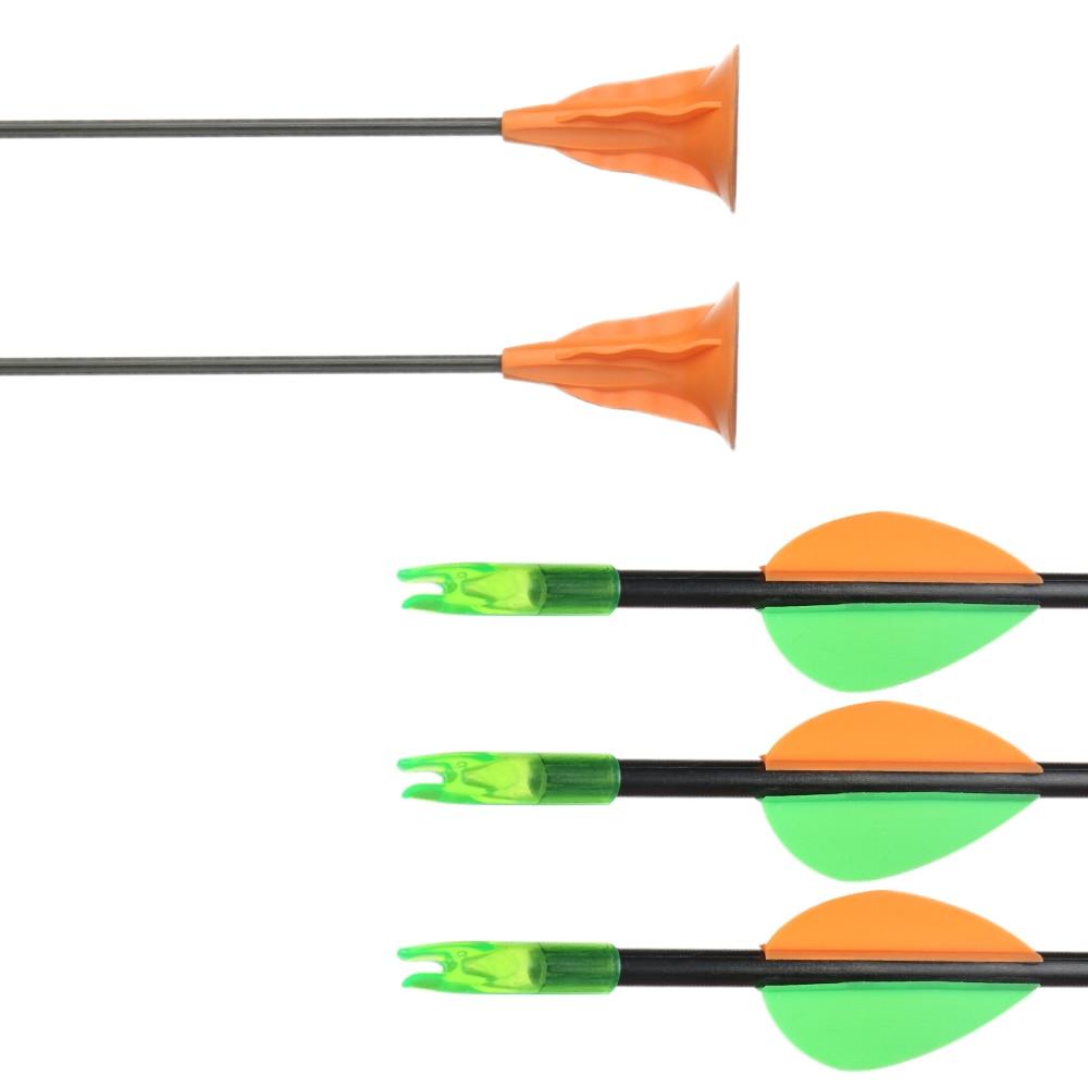 Image 2 - Детские стрелы цель для упражнений в охоте стекловолокна игровые стрелы с присосками для безопасной стрельбы из лука Соединение изогнутый Молодежный лук Кемпинг игра-in Лук и стрела from Спорт и развлечения