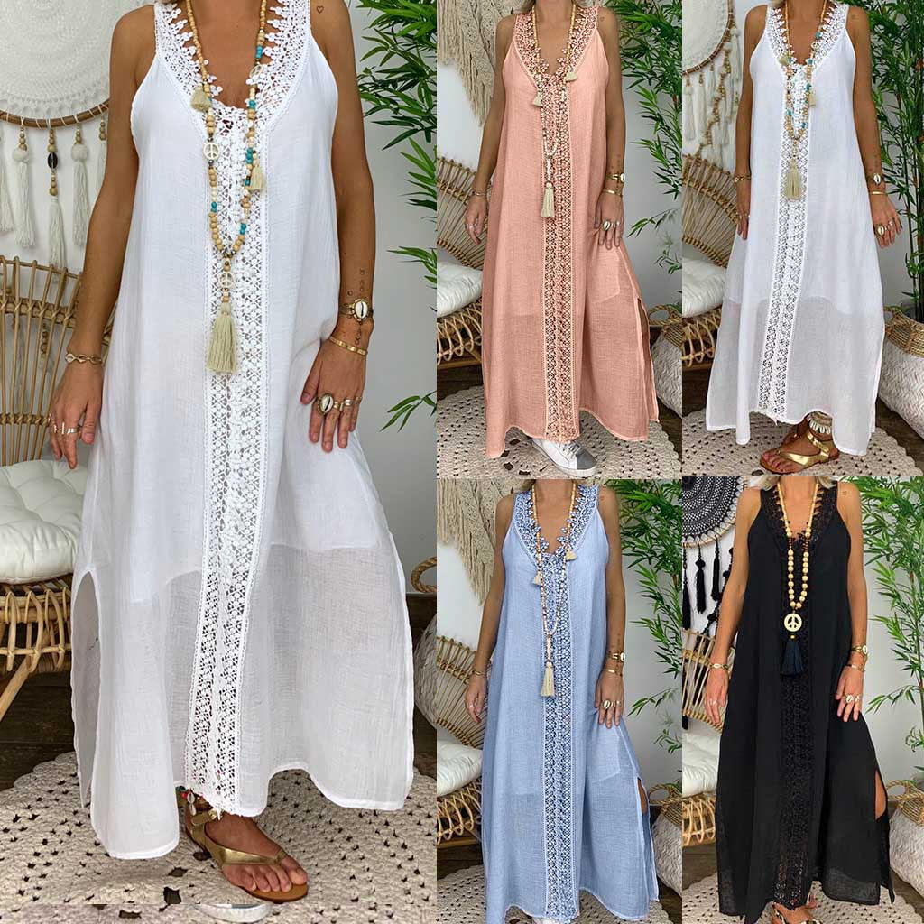 2020 Women Summer Dress Plus Size Sleeveless Holiday Off Shoulder Lace Dress Maxi  Long  Causal Party Beach  Boho Loose  Dresses