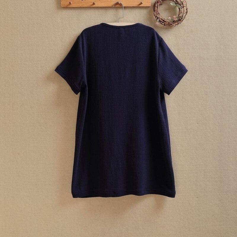 D'été Manches Taille Corps Coton Lin Noir D'origine D'o Courtes Draps Lâche En 2019 bleu Oversize Feminino cou Patchwork shirts Grande T Bleu wBwxqPIZ
