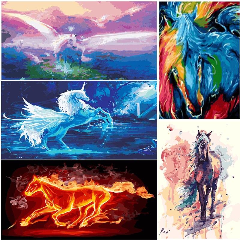Diy malen nach zahlen handgemalten Cartoon Pegasus und pferd ...