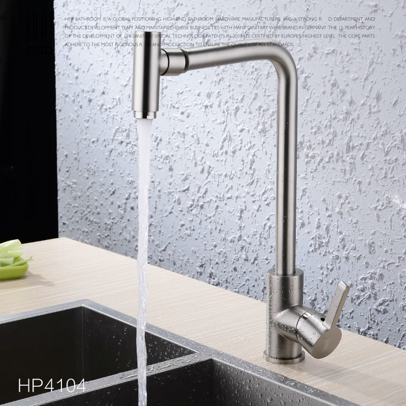 HPB Brass Brushed Rotary Deck Mounted Hot And Cold Water Kitchen Mixer Tap Pb-free Sink Faucet torneira cozinha HP4004 hpb brass pull out spray rotary brushed kitchen faucet sink mixer tap single handle deck mounted hot and cold water hp4114
