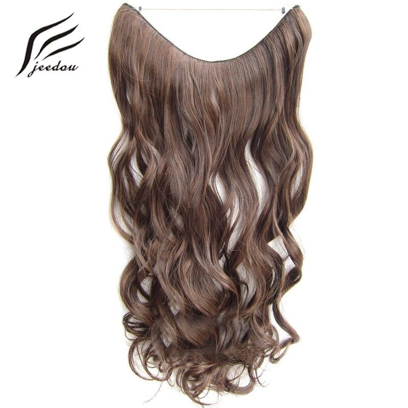 Jeedou 100g 24 60 cm Ligne Flip Cheveux Extensions Noir Blond Gris Mix Couleur 0ne Pièce Naturel Ondulés cheveux Pratique Pas de Clips