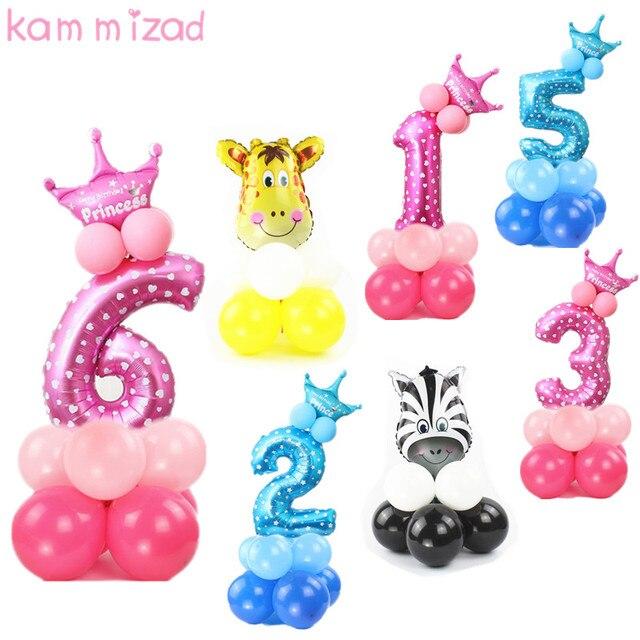 Число Рождения шар принцессы день рождения фольги надувные баллоны для мальчиков и девочек 0 1 2 3 4 5 6 7 8 9 день рождения воздушные шары