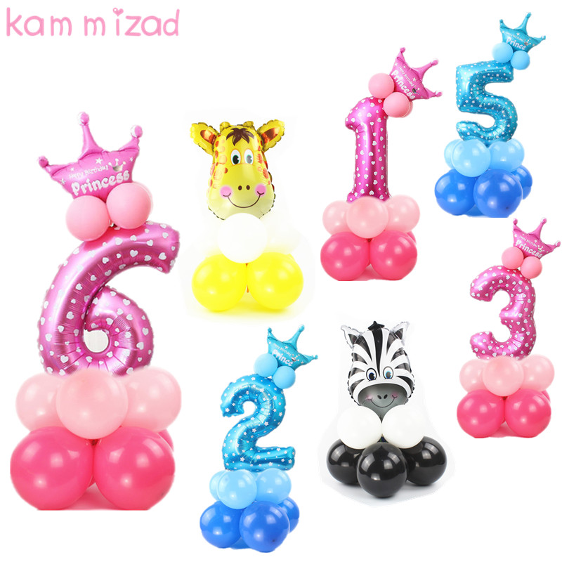 Birthday Number Balloon Princess Party Foil Ballons Inflatable For Girls Boys 0 1 2 3 4 5 6 7 8 9 Balloons