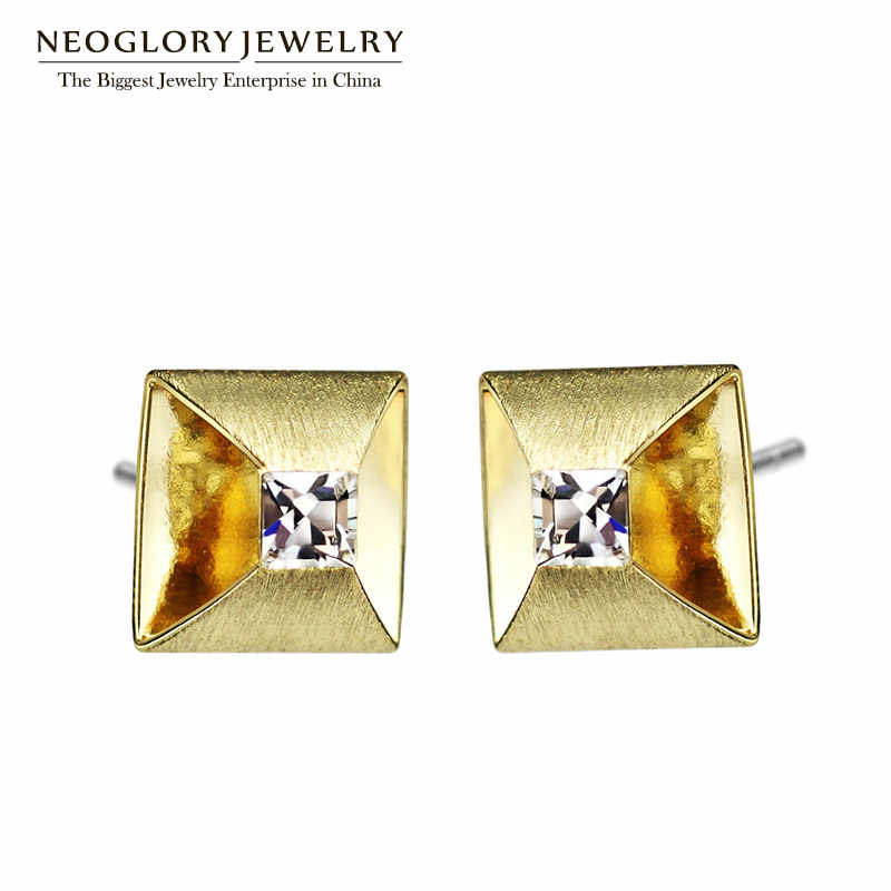 Neoglory Light Yellow Gold Color Austria Rhinestone Small Stud Earrings Geometric Gifts Party 2018 New Brand Charm Jewelry