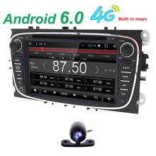 quac core Pure Android 6.0 Car DVD Navigation for Ford Mondeo S-Max C-max Focus rear-view camera DVR 3G dongle OBD2 DAB+MAP CAM