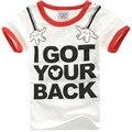 NW021-102 Novos meninos meninas T-shirt do Verão, crianças palavras camiseta I GOT YOUR BACK crianças roupas de algodão