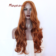 Dark Orange Long Wavy Synthetic Wig Side Part Natural Hair