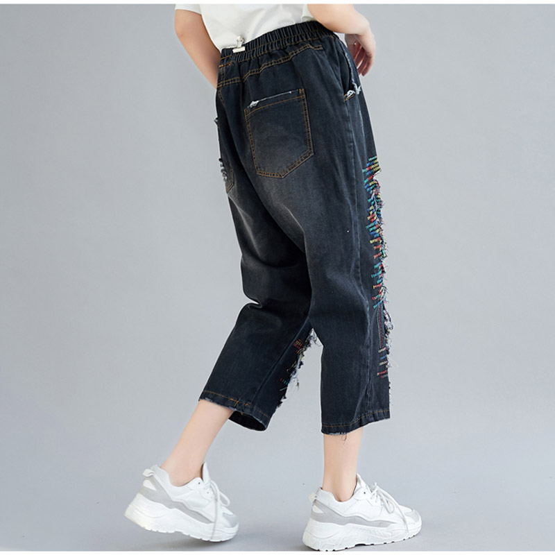 THHONE Mom Jeans Women High Waist Denim Pants Harem Casual Trousers Vintage Embroidery Mujer Jean Femme Ripped Jeans for Women