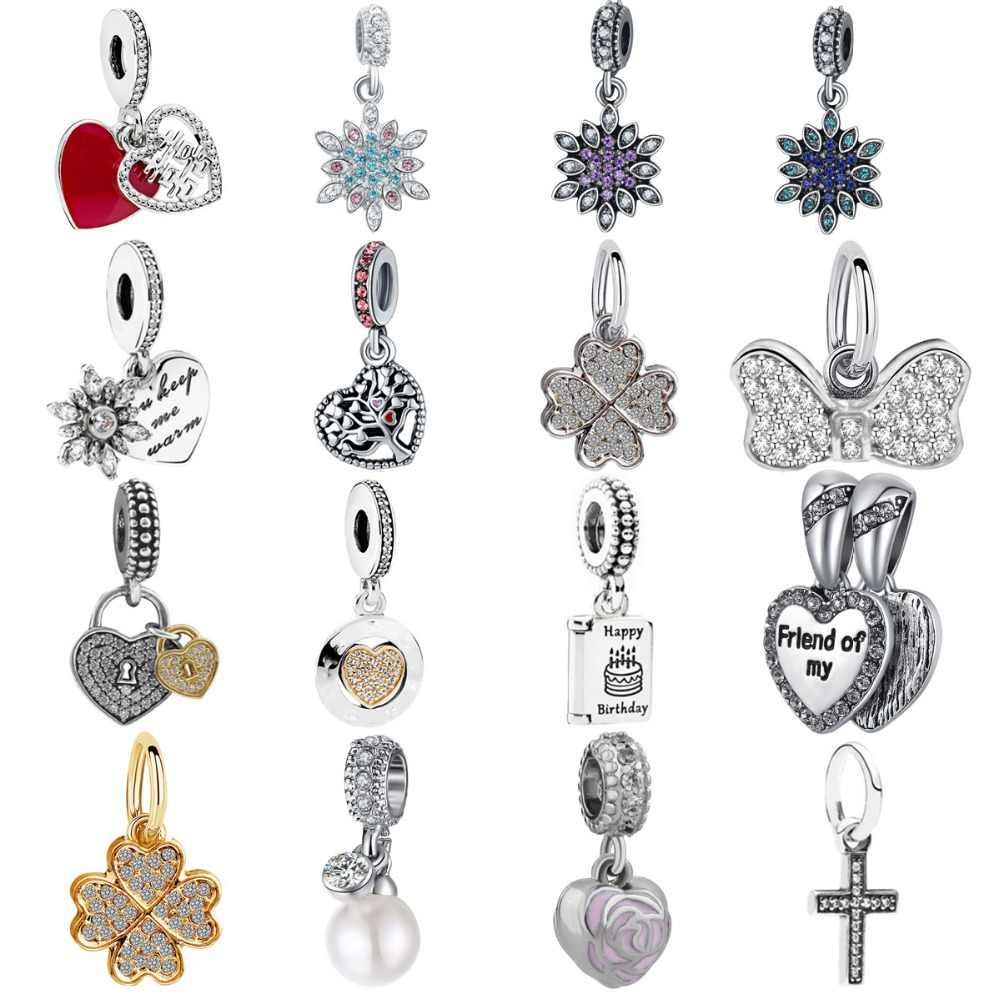 d3b1cb931 Free Shipping 1pc Silver Clover happy birthday family life tree charms fit  original pandora bracelet diy