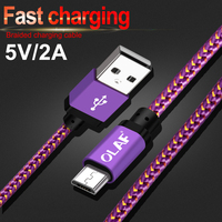 Олаф оплетка Micro USB кабель 25 см 1 м 2 м 3 м 5 В/2A зарядки для samsung Xiaomi быстрой зарядки для мобильного телефона данных Usb кабель