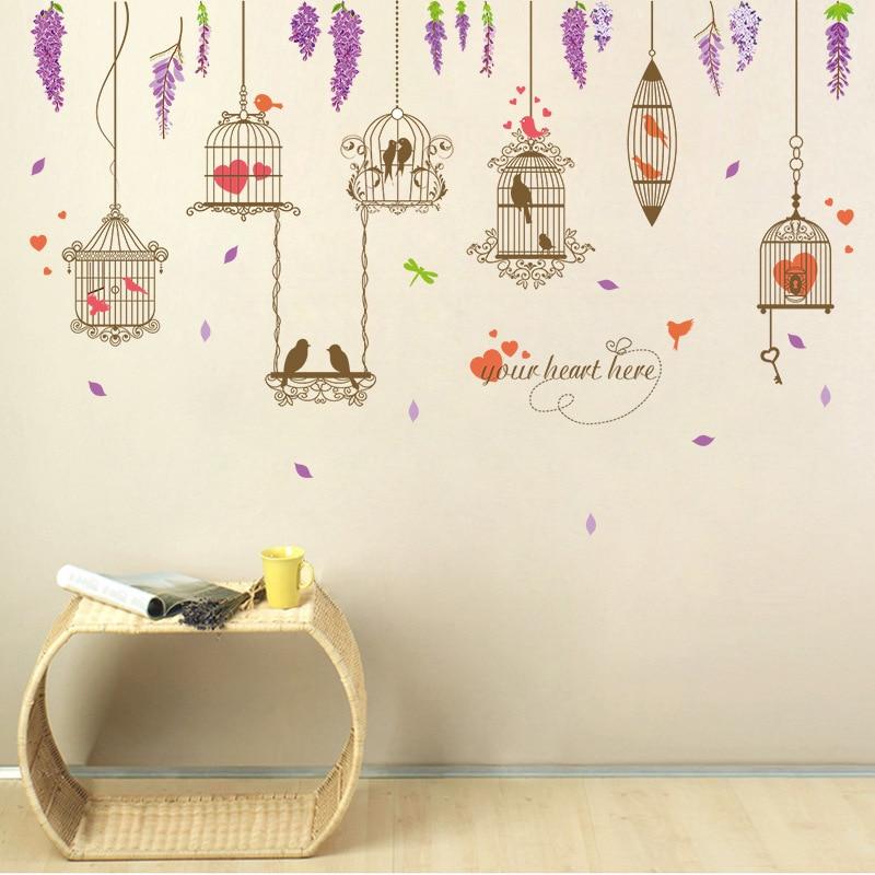 brown birdcages birds wall stickers women salon