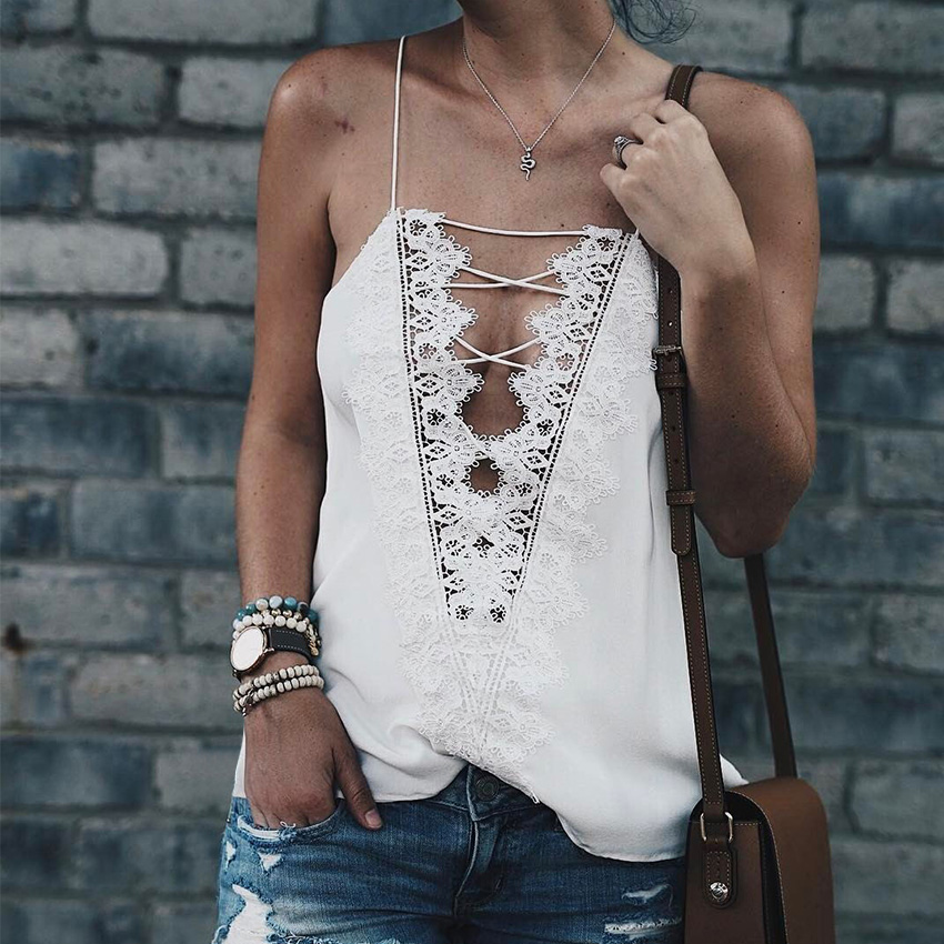 WannaThis 2017 Summer Sexy Halter Top Women Deep V Neck Lace Up Tops Solid Camis Brandy Melville Bustier Top Trim 90s Tank Top