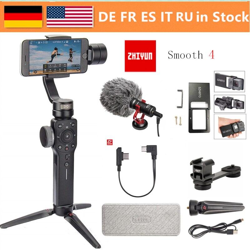 Zhiyun Glatte 4 3-Achse Handheld Gimbal Stabilisator w/Focus Pull & Zoom für iPhone Xs Max Xr X 8 Plus 7 6 SE Samsung Action Kamera