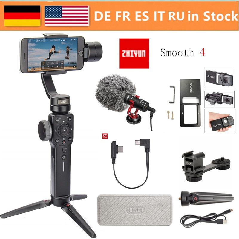 Zhiyun Lisse 4 3-Axes De Poche stabilisateur de cardan w/Focus Pull & Zoom pour iPhone Xs Max Xr X 8 Plus 7 6 SE Samsung caméra d'action