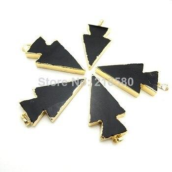 P6100983 Black Onyx  Agat  Arrowhead Pendant with Gold