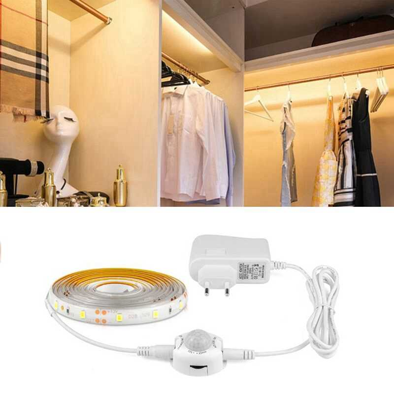 12V LED Strip Light MOTION SENSOR Detector 110V US 220V Uni Eropa Power Adaptor Fleksibel Pita LED Tira dapur Lemari Almari Cahaya