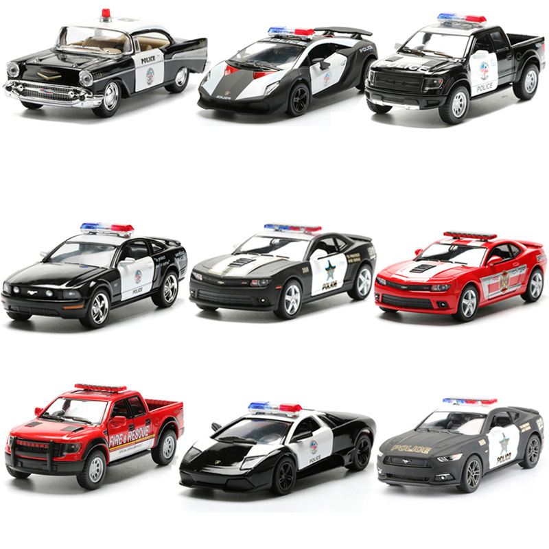 Alloy Police Series Car Toy Simulation Vehicles Pull Back Police Fire Fighter Cars Kids Toys