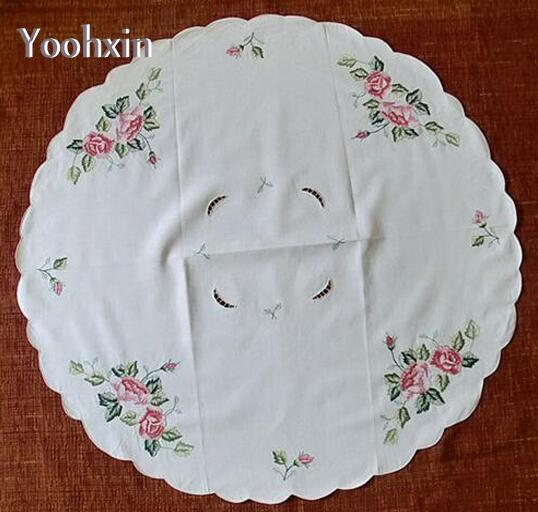 86cm Modern Lace Embroidered table cover cloth towel doily Christmas wedding tea Round white tablecloth placemat mantel decor