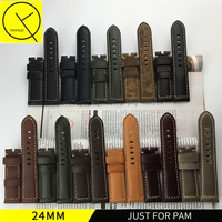 Genuine Leather Handmade High Quality Black Buckle WatchBand Retrol Watch Straps 20mm Gray Yellow Brown For