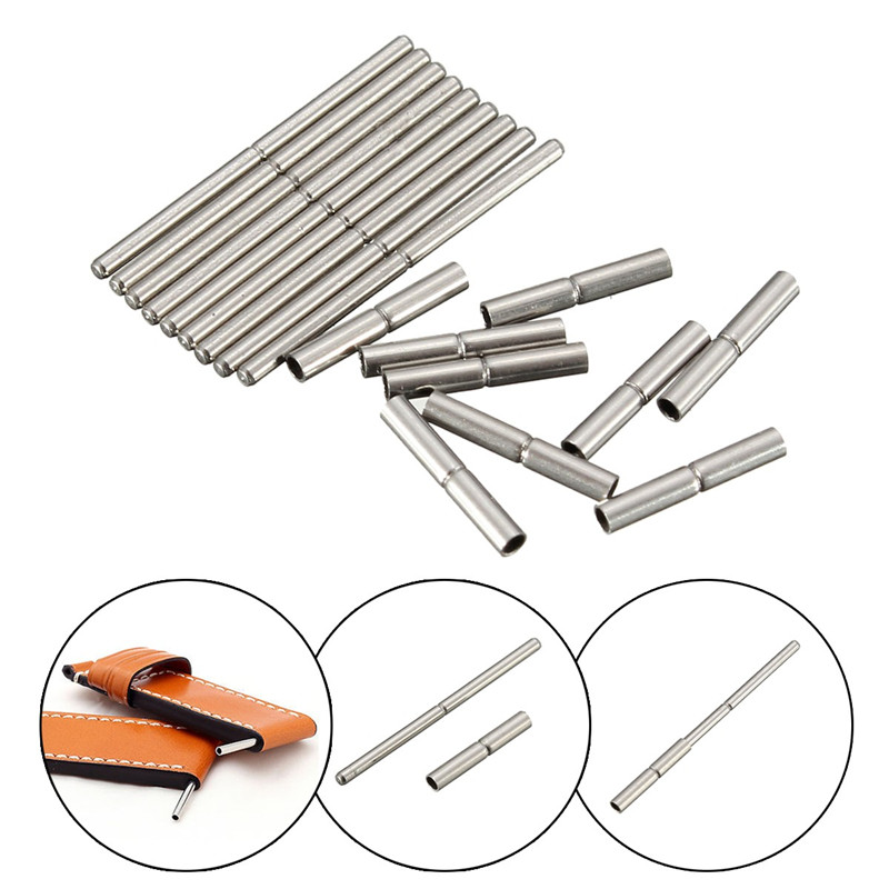 Brand New 10Pcs 8mm-25mm Tube and Pins For WatchBand Strap Watch Repair Tool Stainless Steel For Watchmaker Women/men Watch free shipping 1pc large tube stainless steel gold waterproof watch crown and tube for watch repair