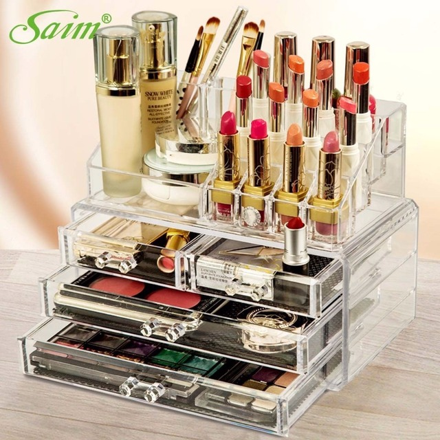 Crystal Acrylic Storage Box Jewelry Container Makeup Display Stand Lipstick Cosmetic Organizer Nail Polish Y0000012002